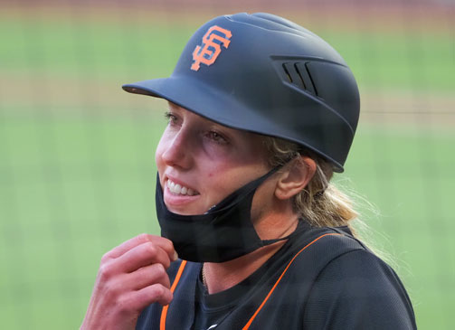 Alyssa Nakken, a coach with the San Francisco Giants, is seen at Oracle Park during an exhibition game against the Oakland A's July 21, 2020. She is Major League Baseball's first female coach. (CNS photo/Kelley L Cox, USA TODAY Sports via Reuters)