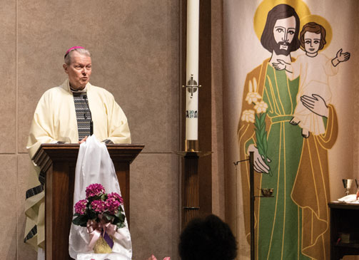 Bishop Edward B. Scharfenberger celebrated a Mass of Hope and Healing for Survivors of Sexual Abuse at the Church of St. Mary in Clinton Heights on April 29. (Molly Halpin photo)