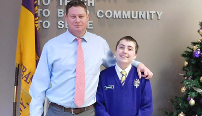 GABE WITH ROGER POWERS, CBA's middle school assistant principal. (Emily Benson photo)