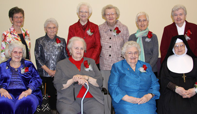 On March 17, 30 Sisters of Saint Joseph of Carondelet marked significant anniversaries of religious life (former names are in parentheses). Above are the 60th jubilarians:  Sisters Jean Albert Burns, Agnes Rose Burton, Geraldine Corkrey (Raymond Marie), Margaret Louise Duffy, Rosemary Endres (Anne Michael), Gilmary Fischer, Joan Killoran (Germaine Marie), Anthony Marie Leary, Marie Denise Monser, Janice Elizabeth O'Neil (Elizabeth Michael), Clare Therese Pelkey and Joanne St. Hilaire (Anna Magdaline)