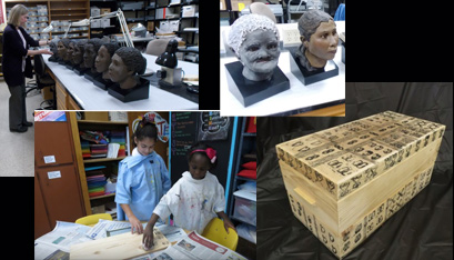 CLOCKWISE from top left, Ms. Anderson works with the remains at the New York State Museum in Albany, facial reconstructions show some of the slaves, the burial box and the fourth-graders at All Saints Catholic Academy in Albany working on the box. (Kathleen Lamanna photos/submitted photos)