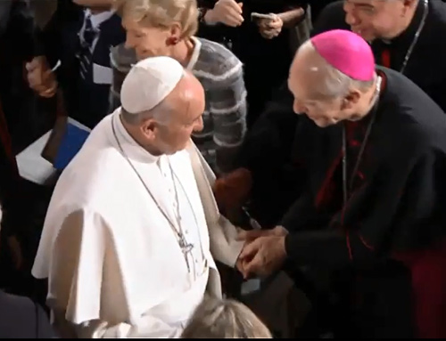 Bishop Emeritus Howard J. Hubbard gets to shake Pope Francis' hand during the pope's visit to the 9/11 Memorial in New York.