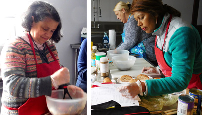 Marcy Palkovic stirs ingredients and Ms. Gedwee checks a recipe. (Emily Benson photos)