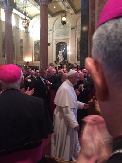 POPE FRANCIS PASSES Bishop Edward B. Scharfenberger's pew at St. Matthew's Cathedral in Washington, D.C.