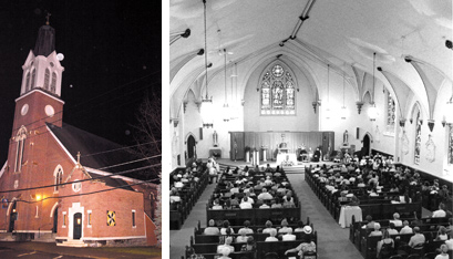 IMMACULATE CONCEPTION CHURCH in Hoosick Falls in 2016 (left, Nate Whitchurch photo) and 1997 (right, Dave Oxford photo).