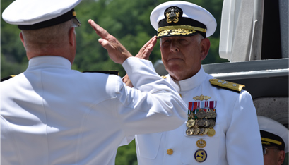 REAR ADMIRAL ZAKRISKI takes command of the New York Naval Militia at a ceremony in June. (New York Army National Guard photo by Spc. Andrew Valenza)