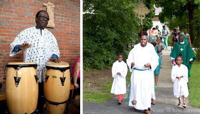 Blessing Oki plays the drums before Mass and David Ukpere leads a procession into the church as Jason Okpako and Amiylah Depass follow. (Nate Whitchurch photos)