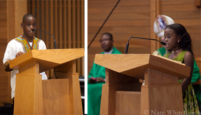 Marcellin Mukendi and Jada Elad read from Scripture. (Nate Whitchurch photos)