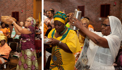 (Left) Florence Ezirim and (right) Josephine Jeoeshi and Tej Molla dance down the aisle to bring up the gifts. (Nate Whitchurch photos)