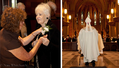 Kathy Haas pins a corsage on Carol Roe and Bishop Edward B. Scharfenberger processes in for Mass. (Nate Whitchurch photos)