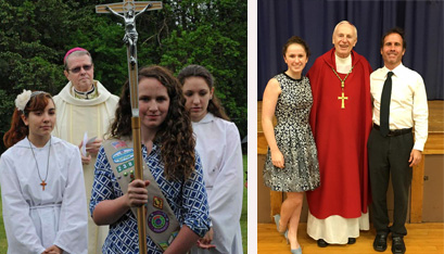 Caroline as cross-bearer at a Mass with Bishop Edward B. Scharfenberger, and at confirmation with Bishop Emeritus Howard J. Hubbard.