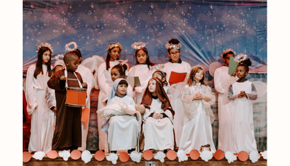 Monica Akhtar and Jace Presti play Mary and Joseph. (Kate Costello photo)