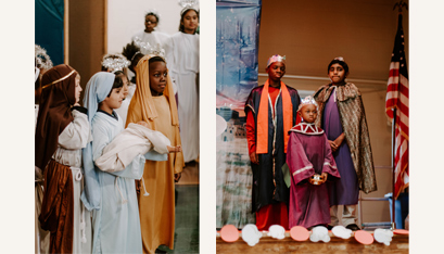 On the left, Shepherds Uffaaz Advil, left, and Nathan Makate pay homage to the Christ child. On the right, three kings Zain James, Solomon Feroze and Kevin George have followed the star. (Kate Costello photo)