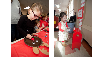 Six-year-old Madeline Darfler, above left, glues Rudolph's nose onto her decoration. Peace Harmony Shaw, above, checks her letter before mailing it to the North Pole. Glue and sparkles make everything prettier for Sophia Favreau, above right, as she makes her pine cone Christmas tree. Jeff Inglee, right, and his 18-month-old daughter, Rylie Anne, wait their turn for St. Nick.
