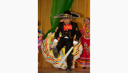 Sebastian Flores performs a traditional machete dance from Mexico. (Nate Whitchurch photo)