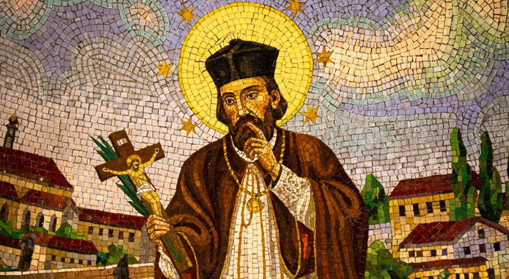 A mosaic image of St. John Nepomucene is displayed inside St. John Nepomucene Catholic Church in New York City May 2, 2019. The 14th-century Bohemian saint is considered the first martyr of the seal of confession. (CNS photo)