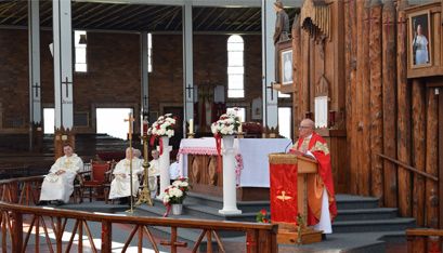 "A 2015 MASS AT THE SHRINE. ""What we envision,"" writes the Bishop, ""is a plan to operate the shrine in much the same way that the first martyrs carried out the work of evangelization: with cooperation among laypersons (as some of those martyrs were) and clergy; with respect for the talents, gifts and traditions of all the collaborators; and, one might say, in an ecumenical spirit."" (John Salvione photo)"