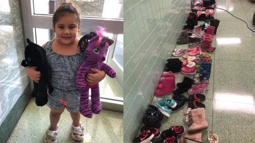 Young children bring in their stuffed animals to donate, along with lots of shoes. (Photos provided)