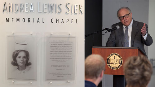 Thomas Gamble, president of Maria College, addresses the guests during the dedication of the Andrea Lewis Siek memorial chapel. (Nate Whitchurch photo).