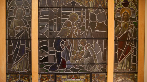 Stained-glass window in the Andrea Lewis Siek Memorial Chapel. (Nate Whitchurch photo)