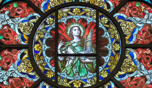 This stunning Rose window with St. Cecilia was originally from St. Paul the Apostle Church in Troy but now adorns a church in North Carolina. (Natasha Johnson photo)